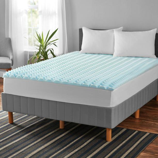 Mainstays 1 5 Inch Memory Foam Mattress, King Mattress Topper On Queen Bed