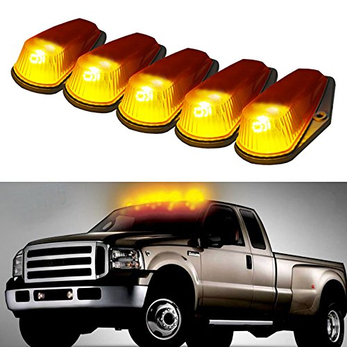 iJDMTOY 5PCS Amber Lens Classic Style Cab Roof Marker Running Lamps With LED Light Bulbs For Ford F150 F250 F350 Dodge RAM GMC Sierra 1500 2500 Yukon Chevrolet Silverado Toyota Tundra Tacoma Truck SUV