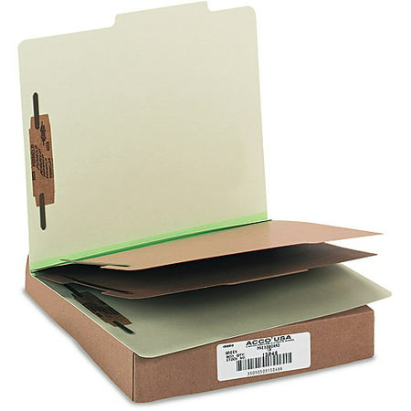ACCO Pressboard 25-Point 6-Section Letter-Size Classification Folders, Box of 10, Available in Multiple Colors Acco Recycled Classification Folders