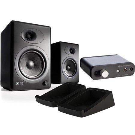 Audioengine A5+ Classic Powered Desktop Speakers (Black) w/ D1 Digital to Analog Converter & DS2 Speaker