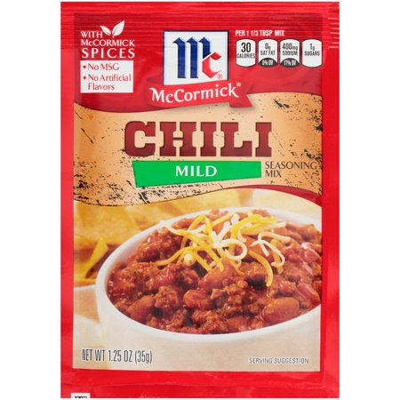(4 Pack) McCormick Mild Chili Seasoning Mix, 1.25 oz