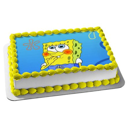 Spongebob Cupcake Toppers (SpongeBob SquarePants Sponge Bob Square Pants Blushing Edible Cake Topper)