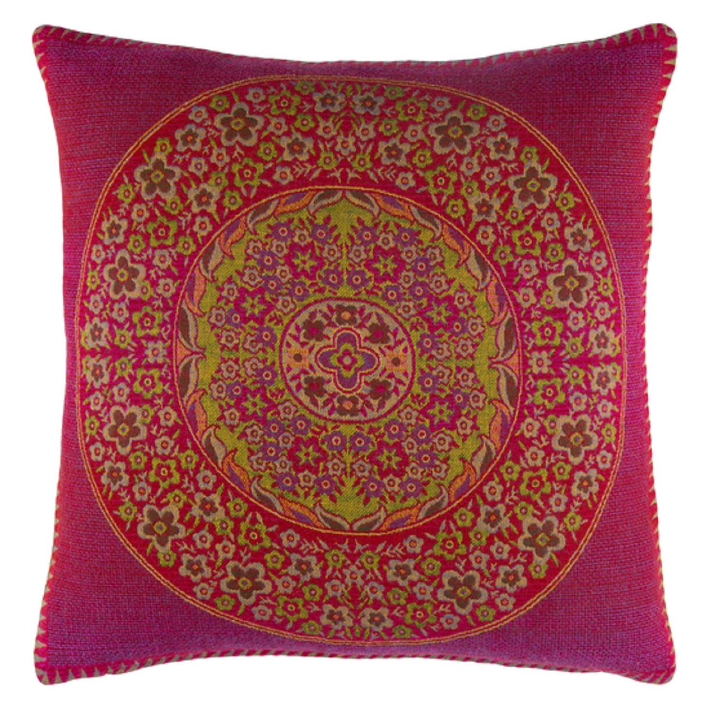 "20"" Himalayas Fuchsia Pink and Ochre Yellow Decorative Throw Pillow"