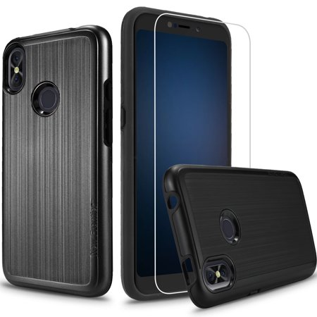 Mega Fun Case - [Case + Screen Protector]BLU Advance A6 2018, Blu Vivo Go, BLU Studio Mega (2018), Blu Vivo Go [Tough Hybrid][Armor][Shockproof] VGC Case (Black+SP)