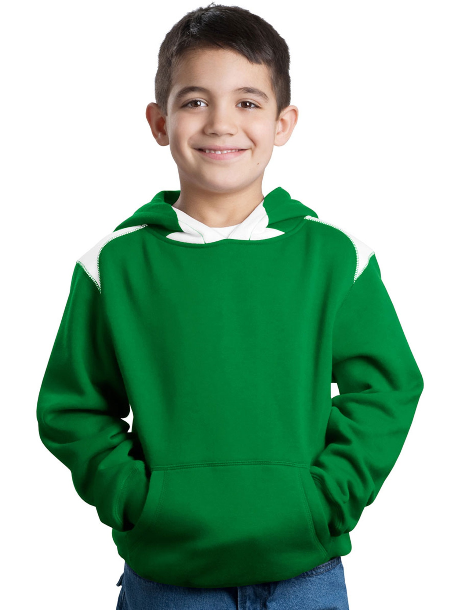 Sport-Tek Youth Contrast Color Pullover Hooded Sweatshirt
