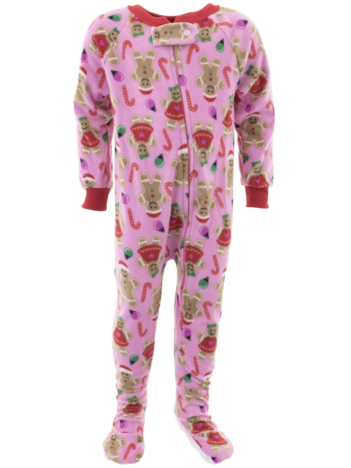 Mon Petit Girls Christmas Pink Footed Pajamas - Walmart.com