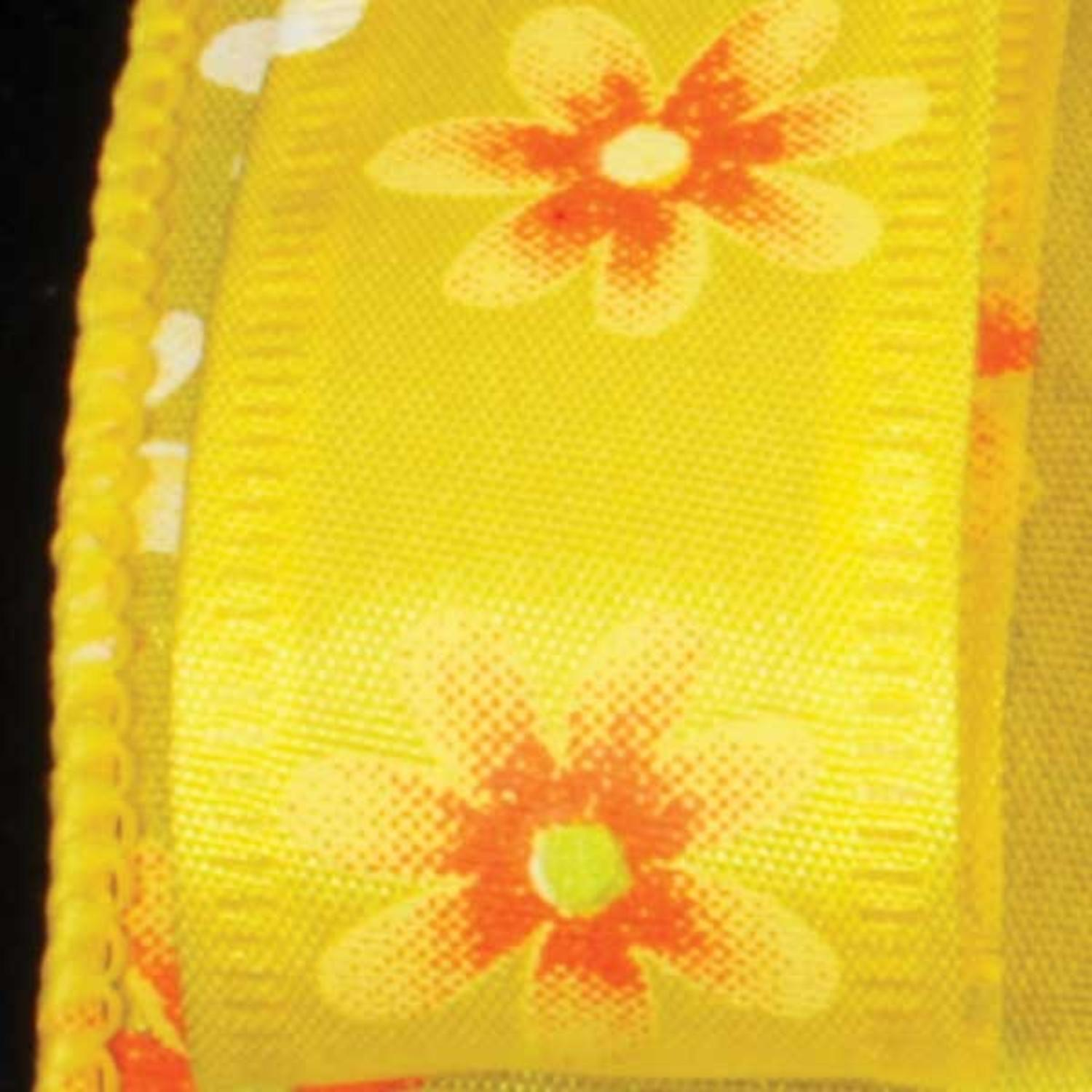"Spring Flowers Yellow Floral Wired Craft Ribbon 7/8"" x 40 Yards"