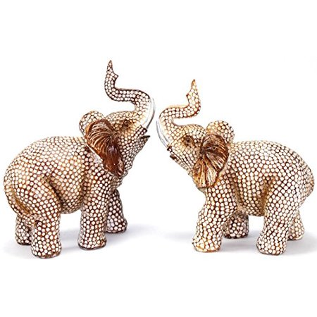 XXXXX Feng Shui Lovely Pair of Polyresin Elephant Trunk Statue Wealth Lucky Figurine Home Decor Housewarming Gift