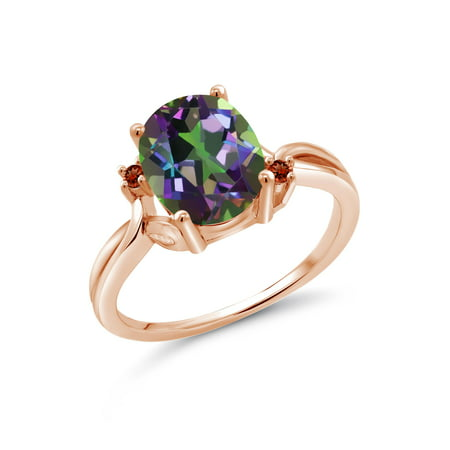 Oval Green Quartz Ring - 3.04 Ct Oval Green Mystic Quartz Red Garnet 18K Rose Gold Plated Silver Ring