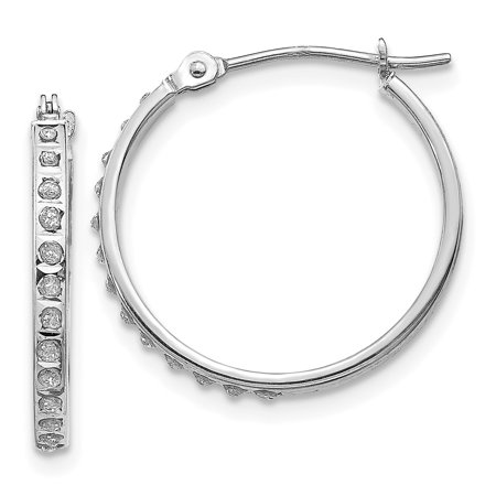 14kt White Gold Diamond Fascination Round Hinged Hoop Earrings Ear Hoops Set Fine Jewelry Ideal Gifts For Women Gift Set From Heart (heart jewelry sets for women)