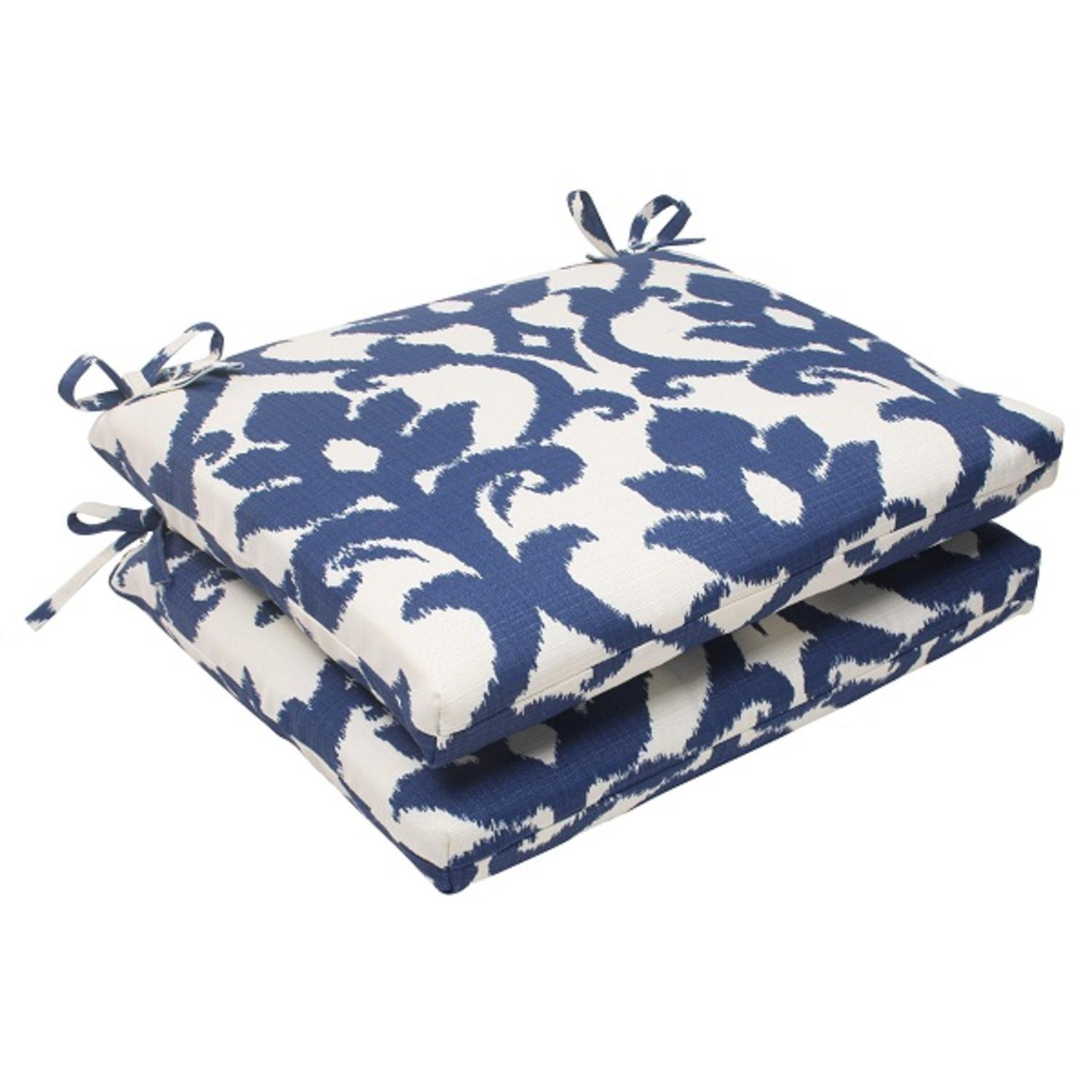 """Set of 2 Navy Victorian Floral Outdoor Patio Squared Seat Cushions 18.5"""""""