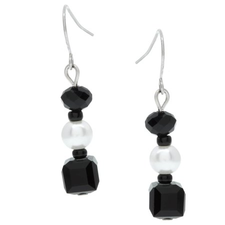 Alexa Starr Black and White Glass Bead Triple Drop Earrings - Black White
