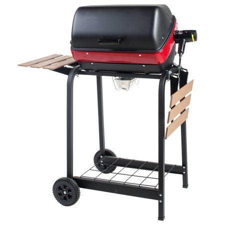 Americana Electric Cart Grill with Two Folding Composite Wood Side Tables and Wire Shelf