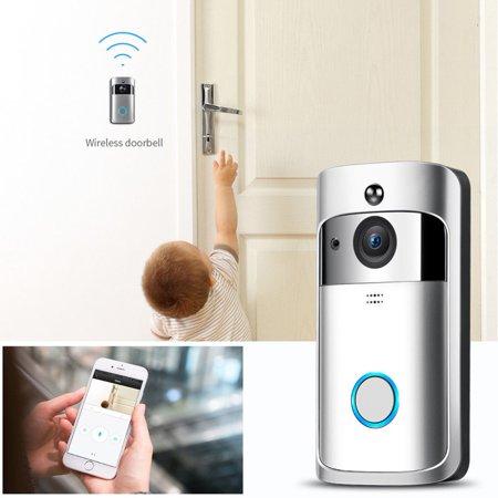 Marainbow 1280*720HD Smart Wireless Home Security Doorbell Camera WiFi DoorBell Video Phone Door Visual IR Recording (Silver)