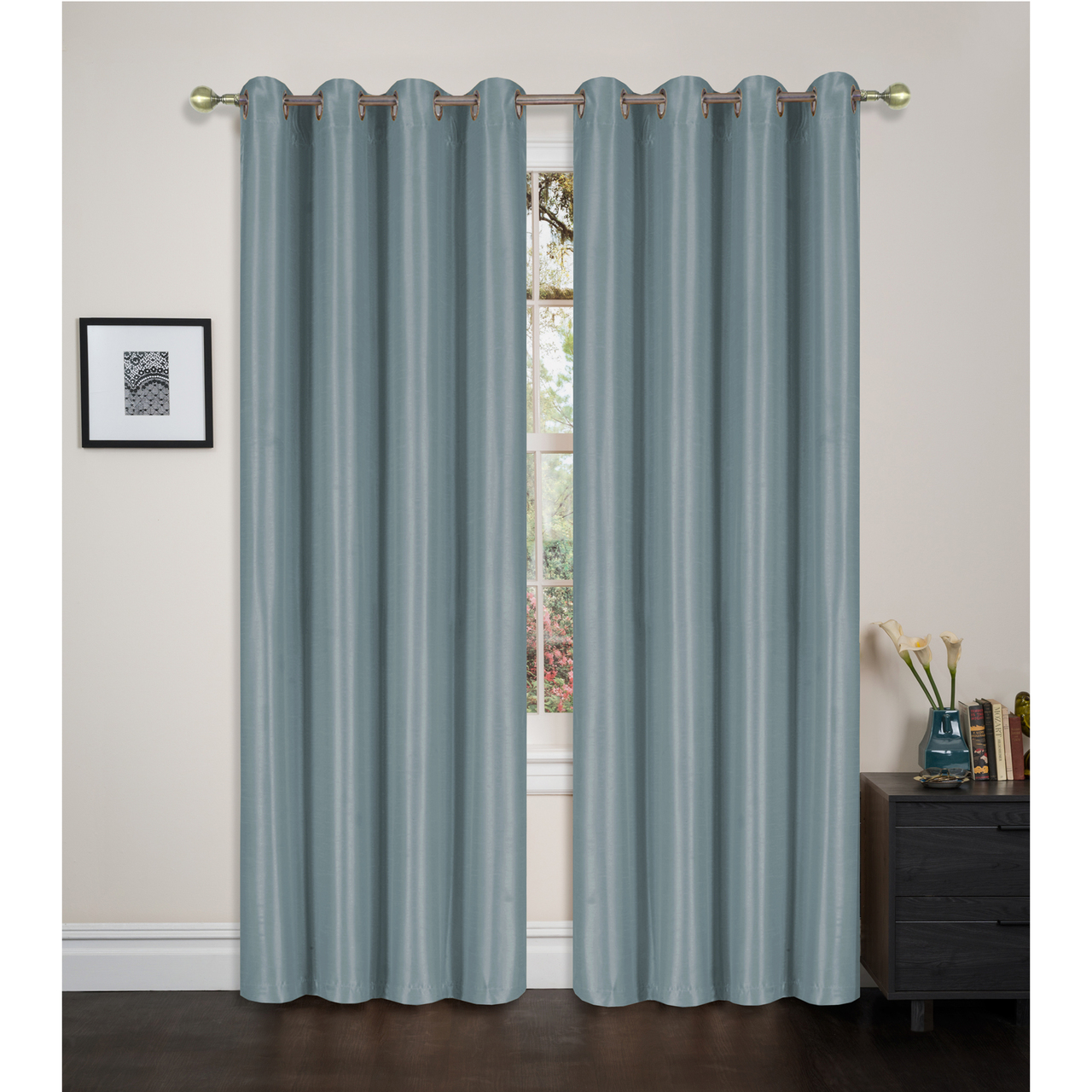 Faux Silk Blackout Room Darkening Window Curtain Panel, Grommet Thermal Lining Insulation... by Linen Store