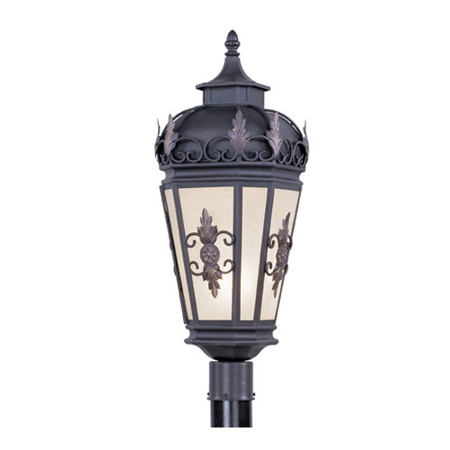 Outdoor Post 1 Light With Antique Honey Linen Glass Bronze Finish size 26 in 150 Watts - World of Crystal