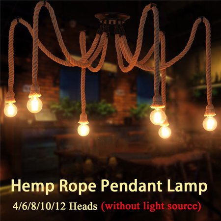E27 4/8/10/12 Heads Vintage Retro Industrial Rope Chandelier Country Ajustable DIY Ceiling Light Industrial Pendant Drop Lamp Spider Rope Light Fixture Creative Bar Lights (French Country Light Fixtures)