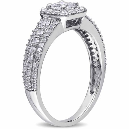 1 Carat T.W. Princess and Round-Cut Diamond 14kt White Gold Halo Engagement Ring