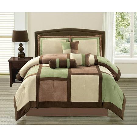 Soft Suede Sage & Brown Bentley 7 Piece Comforter Set - Full