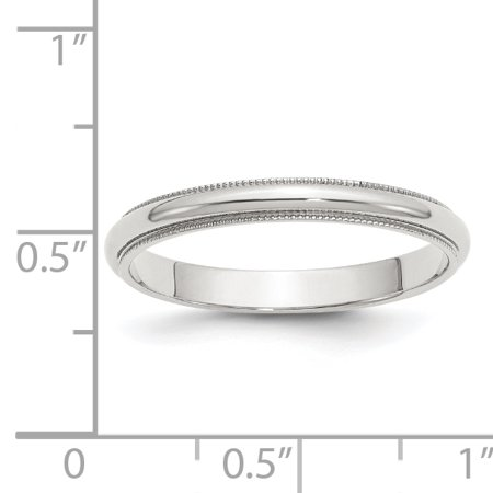 925 Sterling Silver 3mm Half Round Milgrain Size 4 Band Ring - image 1 of 2