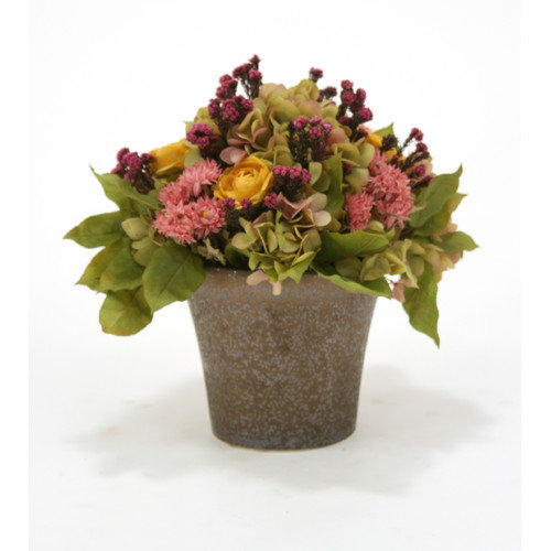 Distinctive Designs Silk Strawflowers, Ranunculas and Hydgrangeas with Greenry in Orchid Pot