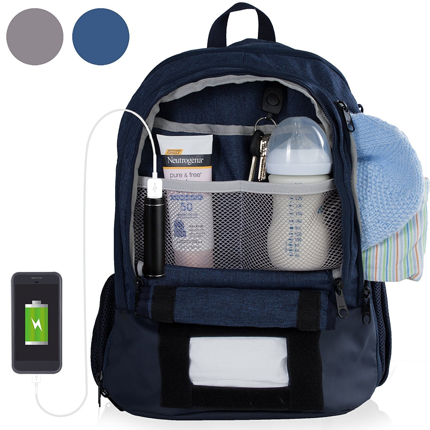 Diaper Bag Backpack With 16 Pockets! Phone Charger, Changing Pad, Stroller Straps & Insulated Bottle Pocket - Great For Mom, Dad, & Travel (Grey)