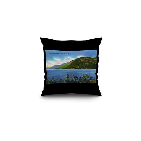 Lake George  New York   Lake View Of Deers Leap Mountain  16X16 Spun Polyester Pillow  Black Border