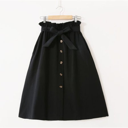 Women Korean Long Section High Waist Skirt Solid Color A Word Skirt Casual  Skirt