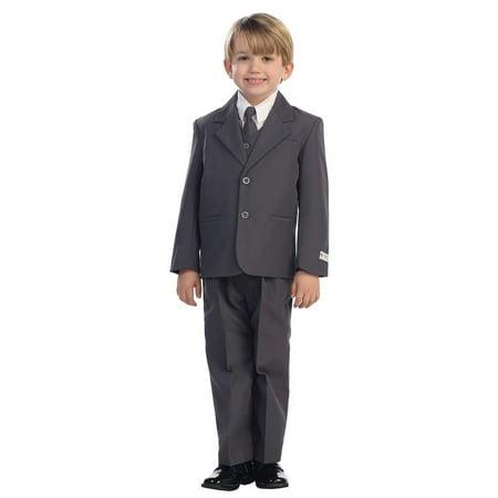 (Little Boys Charcoal Single Breasted Jacket Vest Shirt Tie Pants 5 Pc Suit)