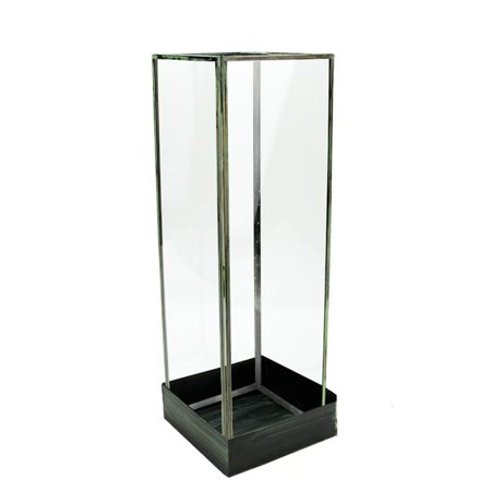 "Image of ""18.25"""" Clear and Green Rectangular Tabletop Glass Terrarium Tower with Base"""