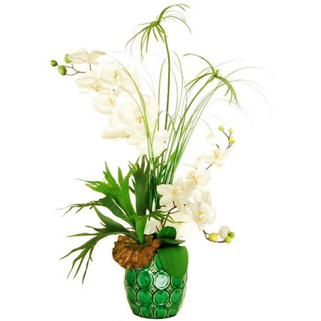 Designs By Lauren 14F112 32 In  Orchid Arrangement With Cypress Grass And A Horn Plant In An Embossed Ceramic Vase