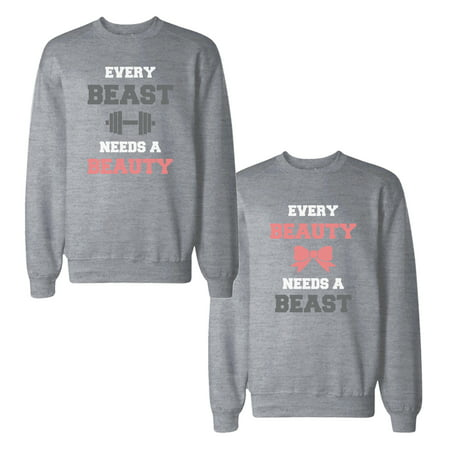 73c9a36c88 Beauty And Beast Needs Each Others Couple Tops Matching Sweatshirts -  Walmart.com