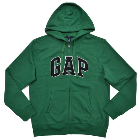 GAP Mens Fleece Arch Logo Full Zip Hoodie (M, Dark Green)
