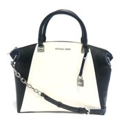 BRAND NEW WOMEN'S MICHAEL KORS SADIE LARGE TOP ZIP LEATHER SATCHEL BAG HANDBAG (Black/White)