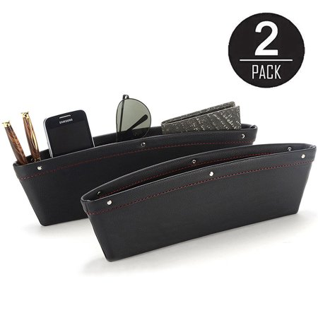 2 Pack PU Leather Catch Caddy Car Seat Console Gap Filler Side Pocket Organizer