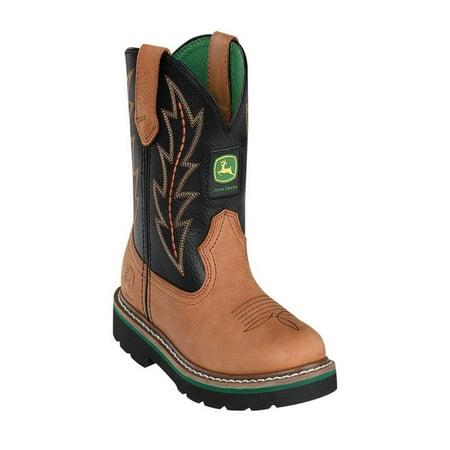 Kids Boys Cowboy Boots (Johnny Popper Western Boots Boys Kids John Deere Cowboy Tan)