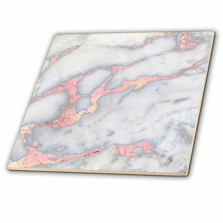 - 3dRose Luxury Grey Rose Gold Gem Stone Marble Glitter Metallic Faux Print - Ceramic Tile, 4-inch