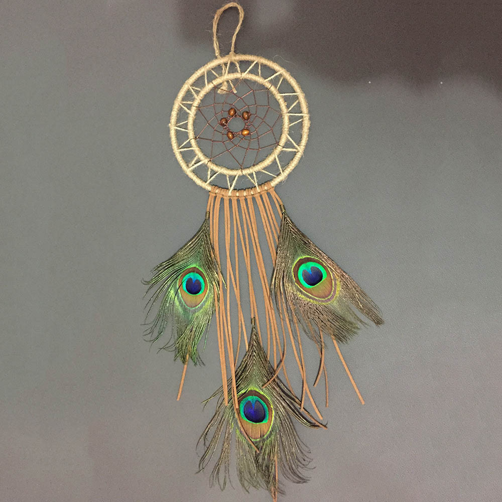 Dream Catcher with Feather and Hemp Rope Wind Chime Wall Hanging Decoration by