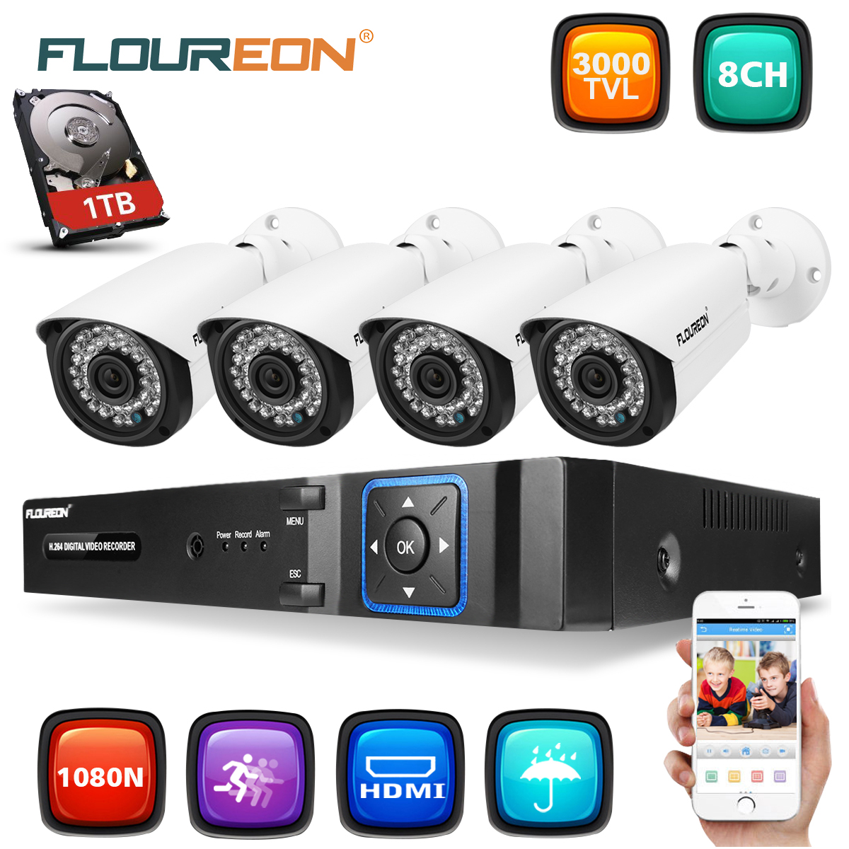 FLOUREON 8 Channel Video Surveillance System, 2MP 8CH NVR with 1TB HDD, 5-in-1 Security Camera 2MP for 24/7 Remote Home Monitoring System