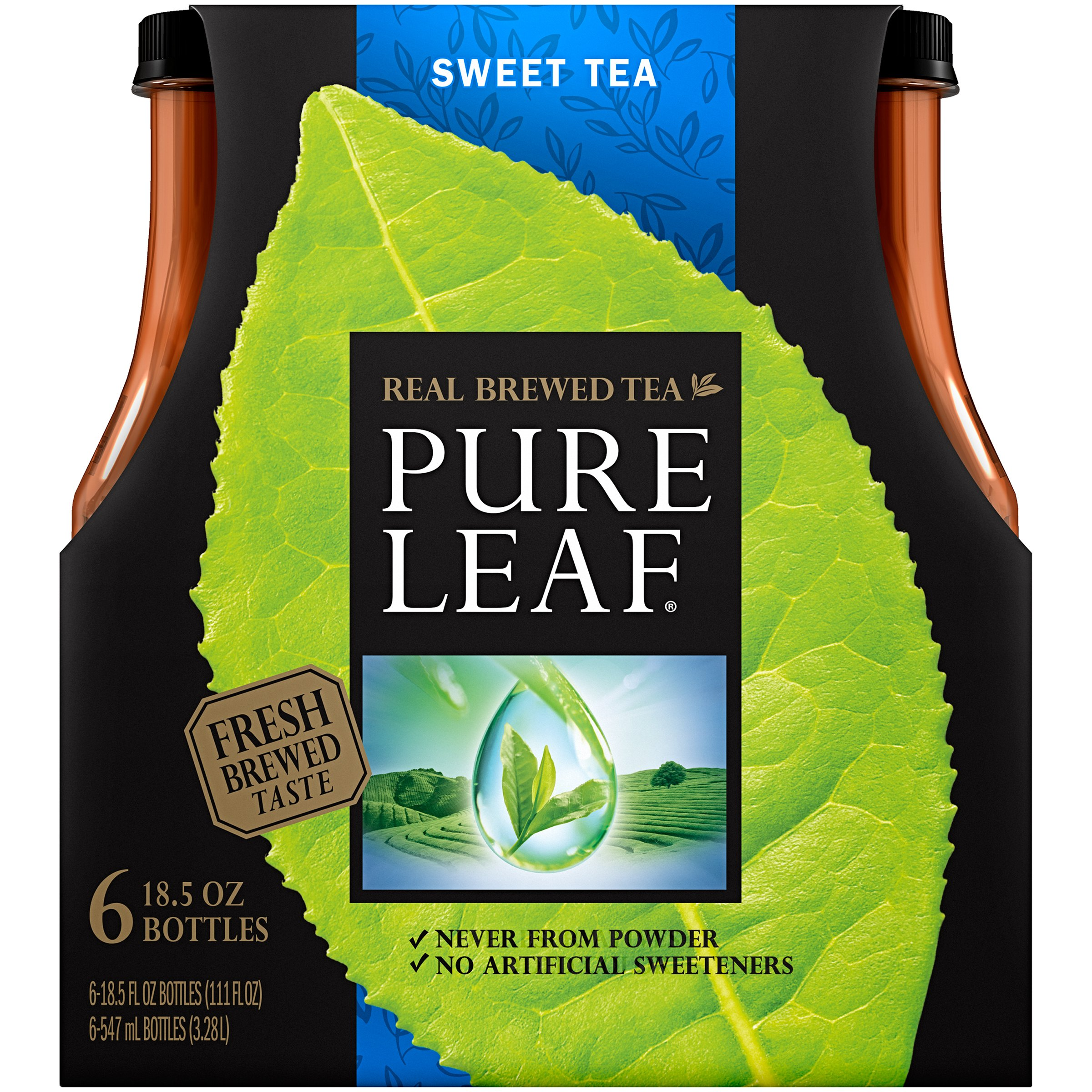 Pure Leaf Real Brewed Tea, Sweet Tea, 6 Count, 18.5 fl oz Bottles