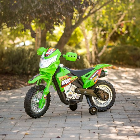 Best Choice Products 6V Electric Kids Ride On Motorcycle Dirt Bike w/  Training Wheels – Green