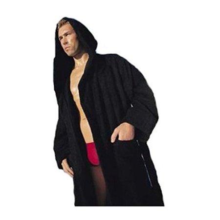 Heavy Mens 3.5lb Black Hooded Terry Bathrobe XXXL 3XL Full Length 100% Cotton - Mens Hooded Bathrobe