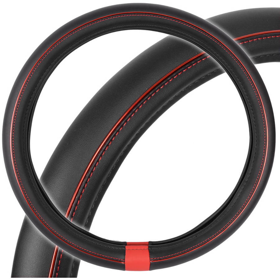 Motor Trend ProSleek Synthetic Leather Car Steering Wheel Cover Black with Red Metallic Ring, Standard Size