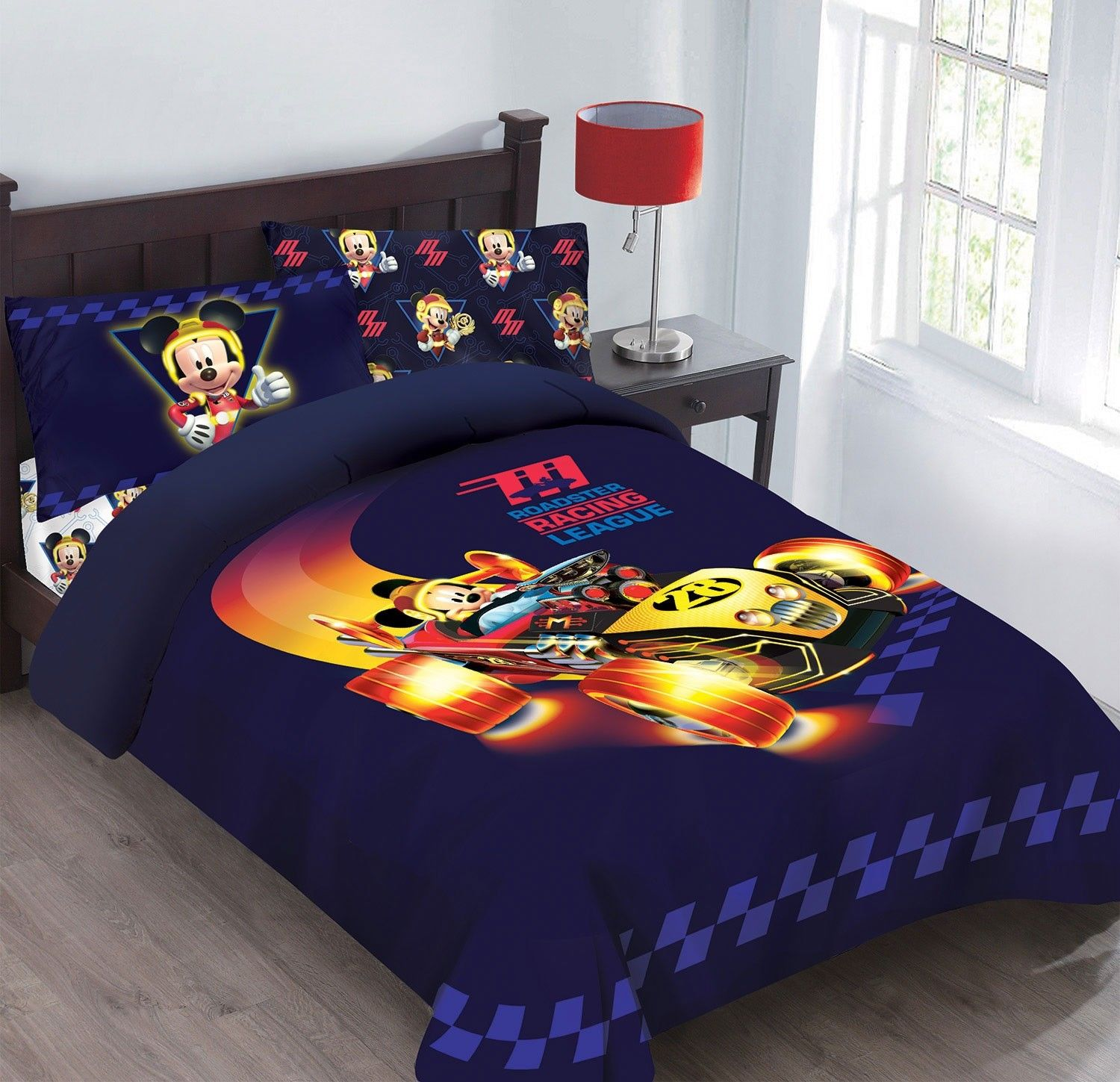 Disney 3pc MICKEY MOUSE Super Charged Racer Bedding Set, Licensed Twin Comforter W/Fitted Sheet And Pillowcase