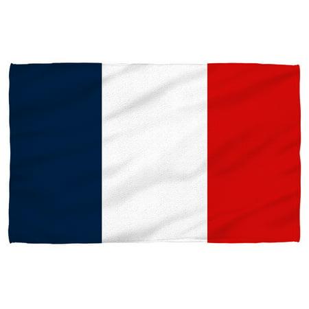 French Flag Beach Towel White 36x58