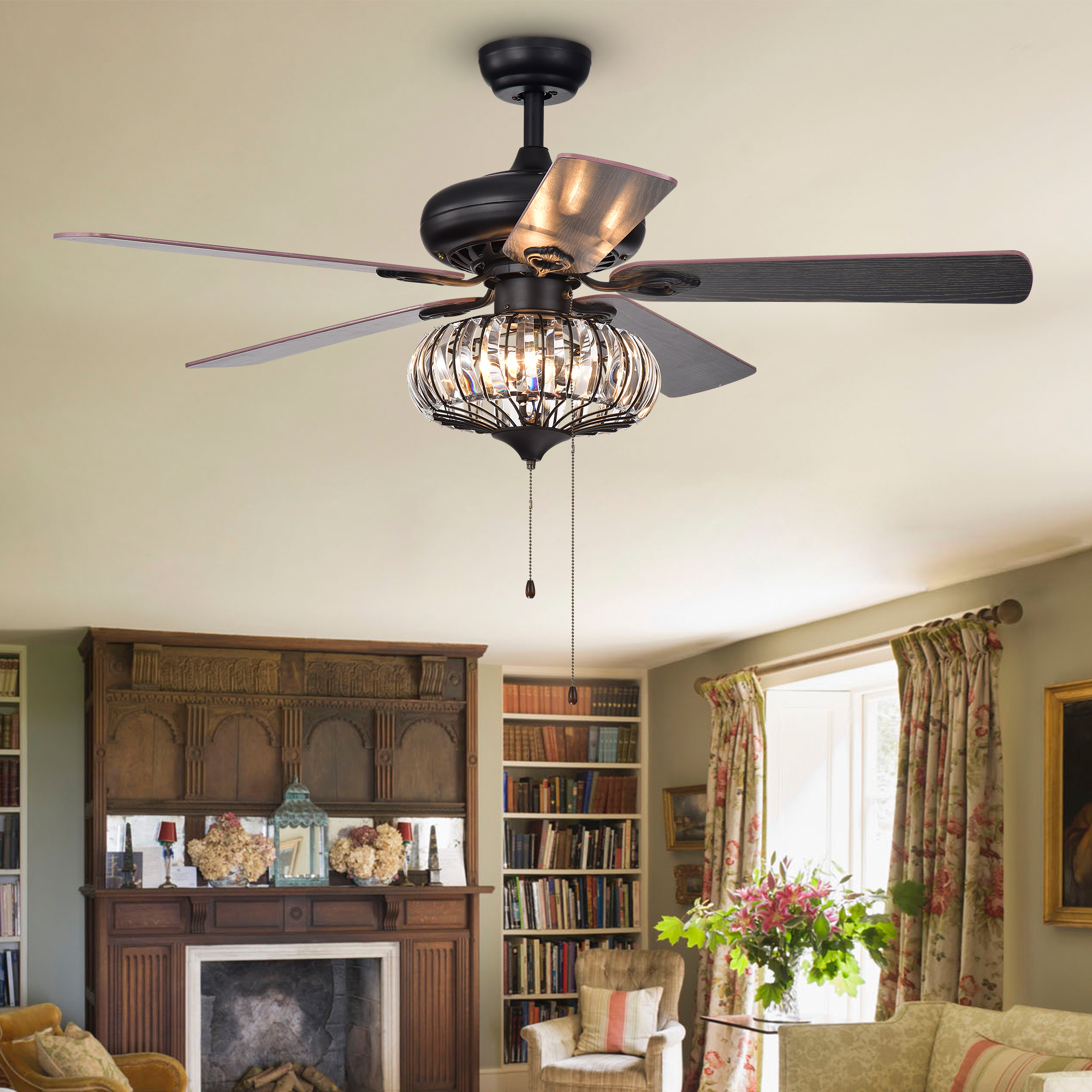 shade ceiling magnifying fd item fan white inch savoy lighting levantara image chrome and with cfm house glass shown chandelier finish in
