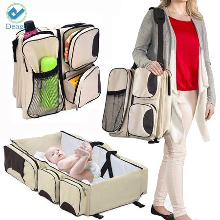 Deago Outdoor Travel Bassinet Diaper Tote Bag Baby Travel Crib, Waterproof Portable Large Capacity Carry Cot (Beige)