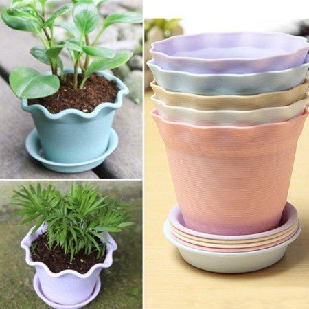 Girl12Queen Wavy Edge Flower Pot Plant Nursery Pot Holder with Tray Home Garden Decoration