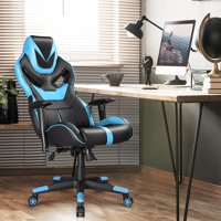 Ergonomic Chairs - Gaming Chair, Office Racing Chair with Thickened Headrest Adjustable Armrest, PC Computer Desk Office Chair, Premium PU leather, 360° Swivel Chair with 90- 135°Tilt, Blue and Black