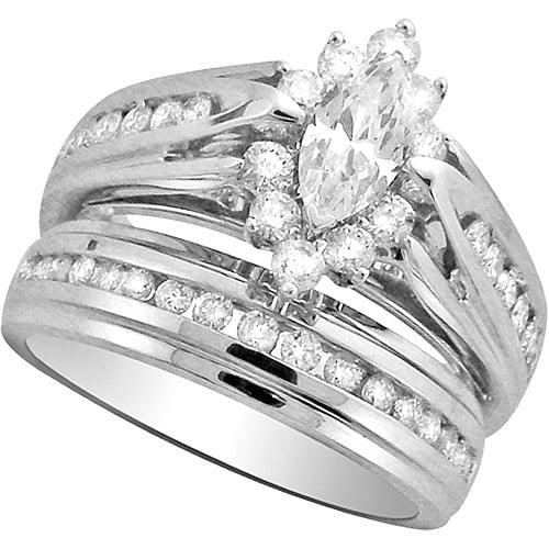1 1/2 Carat Diamond 10kt White Gold Bridal Set